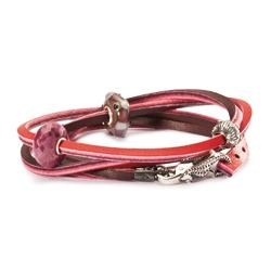 Leather Bracelet, Red/Bordeaux, 45 cm