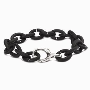 Rubber X Silver Bracelet