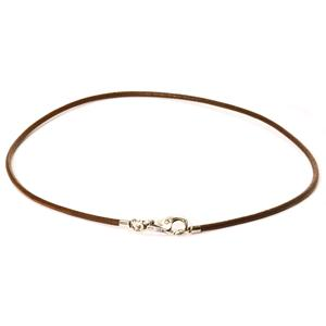 Leather necklace, brown