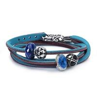 Leather Bracelet Turquoise/Plum, with Gemstones and Sterling Sil